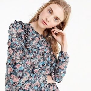J. Crew Tall Ruffle Front Top Paisley Floral